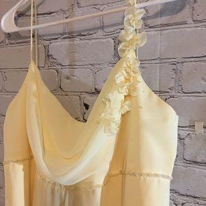 David's Bridal sheer banana party dress Sz 16 NWT